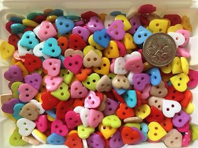 BB BUTTONS 10mm HEARTS mixed pk of 40 BULK sewing craft acrylic