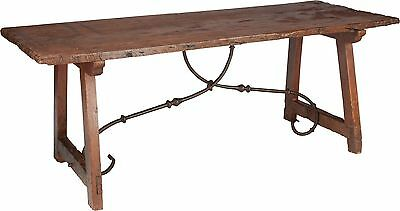 Authentic Spanish 17-18Th Century Refectory Walnut Table, Period Iron Stretchers