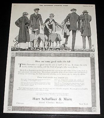 1914 Old Magazine Print Ad, Hart Schaffner & Marx, Some Good Styles For Fall!