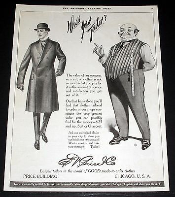 1914 Old Magazine Print Ad, E.v. Price, Overcoat Or A Suit, Who's Your Tailor?