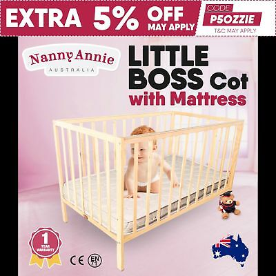TikkTokk Little BOSS Cot - Wooden Kids Cot - Natural with mattress