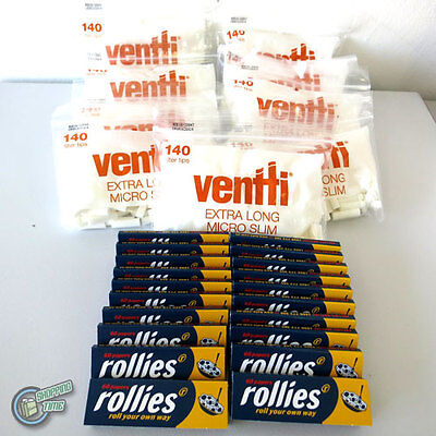 1260 Extra Long White VENTTI Filter Tips + 1200 ROLLIES Cigarette Rolling paper