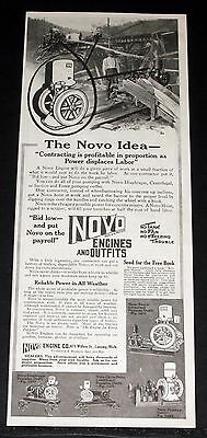 1914 Old Magazine Print Ad, Novo Engines & Outfits, As Power Displaces Labor!