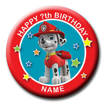 PERSONALISED PAW PATROL MARSHALL BIRTHDAY BADGE , MAGNET, MIRROR 58MM or 77MM