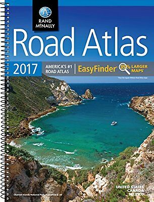 McNally Spiral-Bound Road Atlas Map 2017 EasyFinder United States Canada Mexico