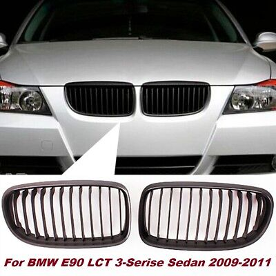 Matte Black Front Kidney Grille Grill For BMW E90 E91 LCI 3 Series 4DR 2009-2011