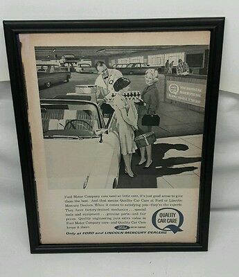 Framed 1960's vintage Ford quality care service magazine print ad