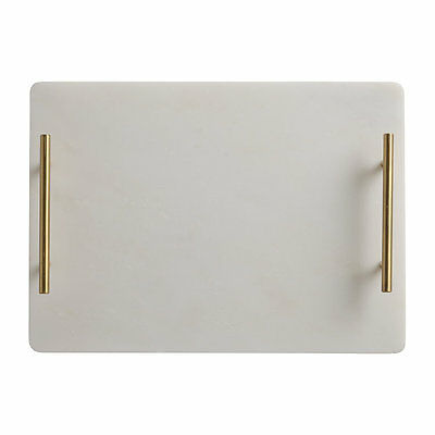 NEW Maxwell & Williams Mezze Marble Tray Gold Handle 36x26cm