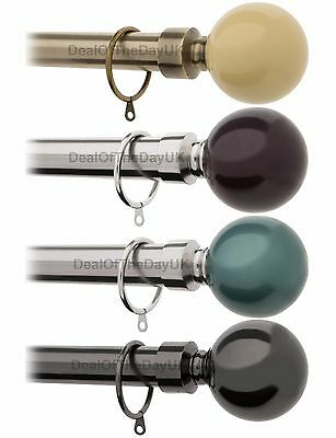 Extendable Curtain Pole 28mm Metal Eyelet Curtains Rod Orb 90 120 150 180 210 cm