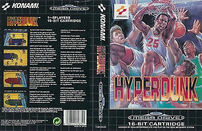 Hyperdunk Sega Mega Drive PAL Replacement Box Art Case Insert Cover Scan Repro