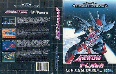 Arrow Flash Sega Mega Drive PAL Replacement Box Art Case Insert Cover Scan Repro