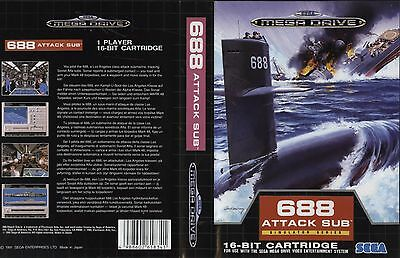 688 Attack Sub Sega Mega Drive PAL Replacement Box Art Case Insert Cover Scan