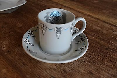ERIC RAVILIOUS COFFEE CUP AND SAUCER FOR WEDGWOOD art deco 30s 40s modernist