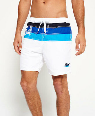 New Mens Superdry Cali Waterpolo Short Surf White