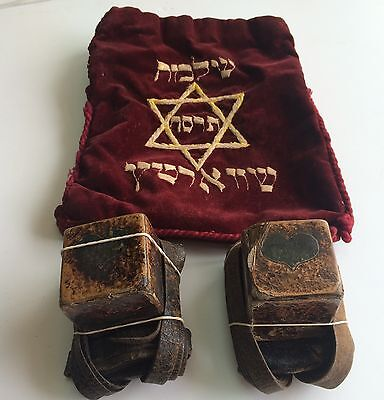Judaica Tefilin Tefillin / Big Old Pair Of Tefillin / Tefilin Phylacteries