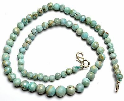 Natural Rare Gemstone Larimar 5 to 8MM Faceted Round Beads Necklace 16 Inch