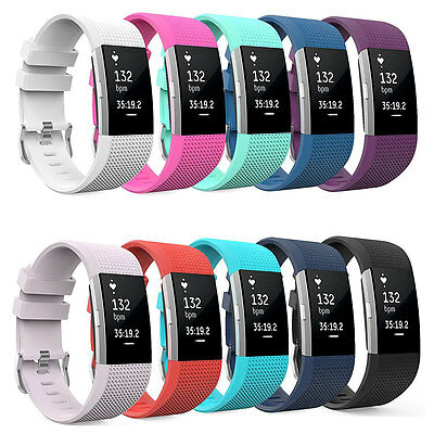 Replacement Wrist Band Silicon Strap Bracelet+Buckle For Fitbit Charge2 Size S/L