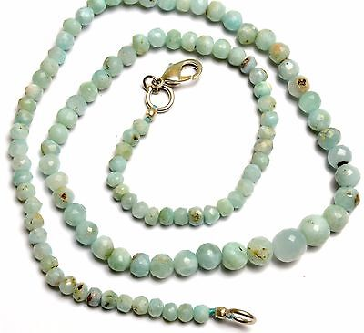 Natural Rare Gemstone Larimar 4 to 7MM Faceted Round Beads Necklace 16 Inch