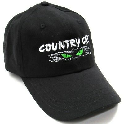 Country Cat Adult 100% Cotton Cateyes Graphics Value Baseball Cap Hat - Black