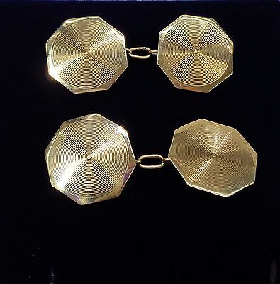 Vintage 9ct Yellow Gold Cufflinks with Pattern