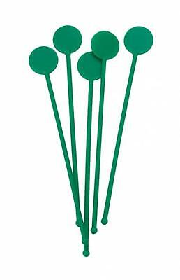 "7"" Green Disc Cocktail Stirrers Swizzle Mixer Sticks Pack Of 100"
