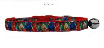 """EXCLUSIVE red blue pink  """"TROLL'S  """" safety kitten cat collar 3 sizes"""