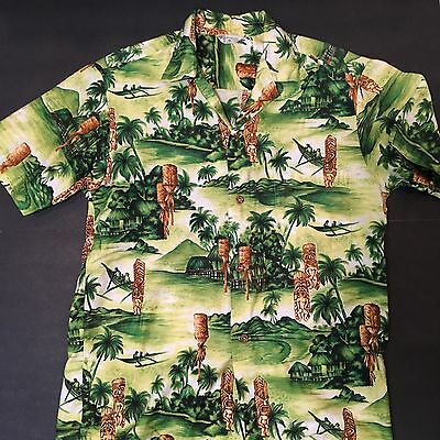 Vintage Large Hookano Hawaiian Aloha Tiki Shirt Medium