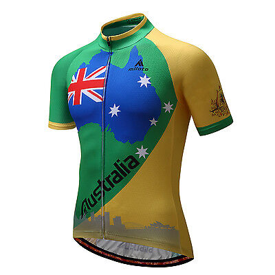 Australia Men's Team Cycling Jersey Short Sleeve Bike Cycle Tops Shirts S-5XL
