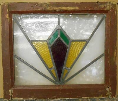 "OLD ENGLISH LEADED STAINED GLASS WINDOW Art Deco Design 20"" x 16.75"""