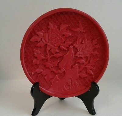 Vintage Chinese Red Cinnabar Plate carved Peony, on black wooden stand