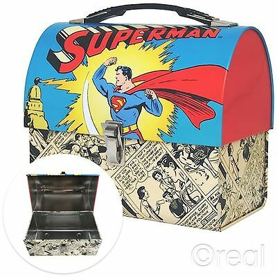 New DC Comics Superman Domed Tin Tote Lunch Box Retro Comic Strip Official