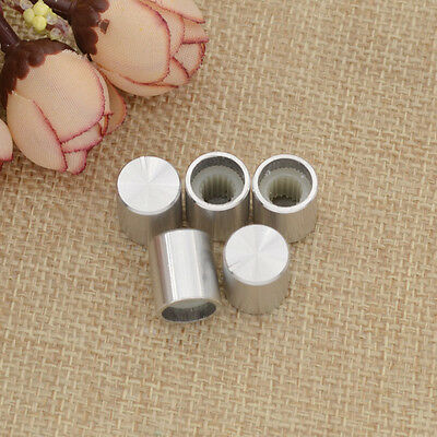 5 Pcs 0.6cm Silver Tone Aluminum Alloy Rotary Potentiometer Knobs Cap Button