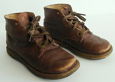 Antique Vintage Baby Doll Child's Leather High Top Walker Shoe Toddler