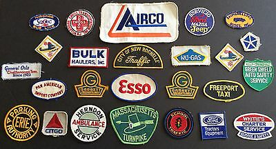 Old Vtg Advertising Sew On Patch Gas Oil Auto Transportation Car Badge Lot Of 25