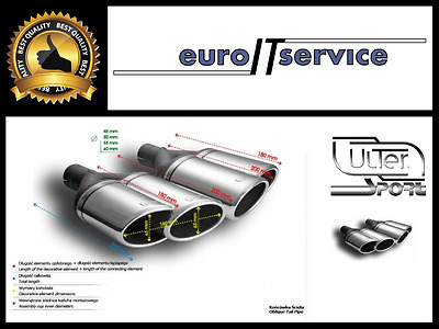 TWO TOP DOUBLE MUFFLER TIP ULTER SPORT N2-56L P* - SILENCER TAIL PIPE Ø95x65