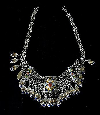 Splendid sterling silver Berber necklace  enamelled, coral beads in cabochon