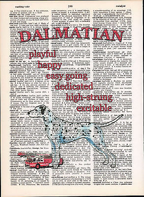 Dalmatian Dog Trait Altered Art Print Decor Upcycled Vintage Dictionary Page