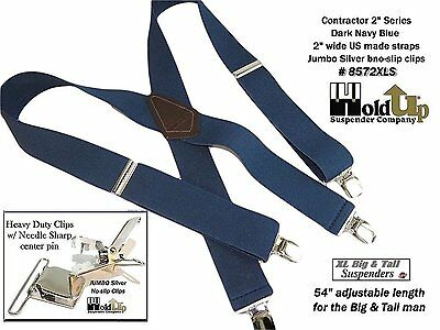 Hold-Ups Extra Long XL Navy Blue Suspenders with Jumbo Silver No-slip Clips