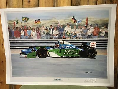 Vintage Pair Prints Damon Hill and Michael Schumacher F1 Print 1994 Ltd Edition