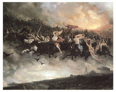 Arbo - The Wild Hunt of Odin (1872) Art Canvas/Poster Print A3/A2/A1