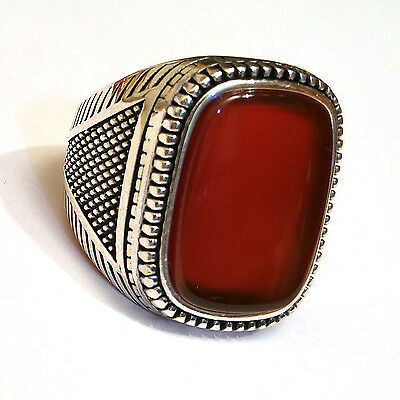 Turkish Handmade 925 Sterlin Silver, Red Agate Stone Men's Ring Sz 12 us #1064