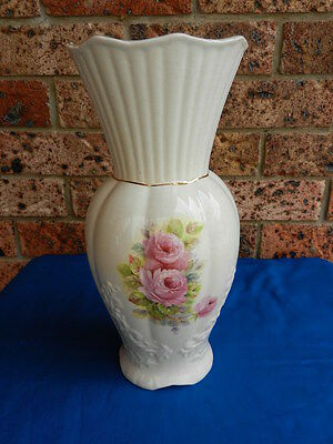 VINTAGE ANTIQUE English Staffordshire Tall Floral Pottery VASE