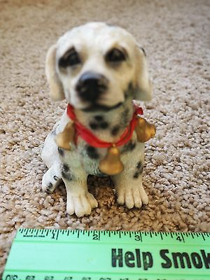 Dalmatian Puppy Figurine, Sitting, Bells necklace