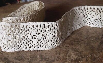 """Antique Lace Trim French Doll Baby Vintage Sewing Costume Cotton Edging  31"""""""