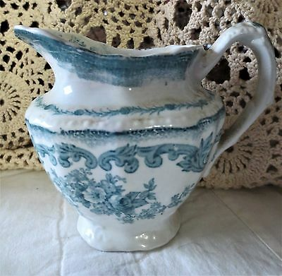 Antique BLUE & WHITE PITCHER Daint Floral Transferware NEW WHARF POTTERY ENGLAND