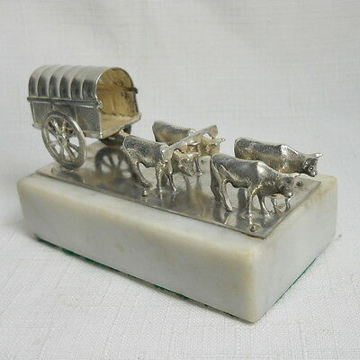 Antique 800 Sterling Silver Sculpture of Covered Wagon Drawn by Oxen
