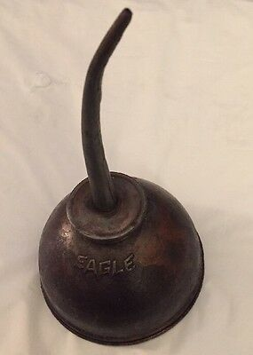 Vintage...eagle Brand...thumb Pump Metal Oiler Oil Can..usa...curved Spout
