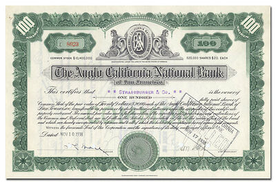 Anglo California National Bank of San Francisco Stock Certificate