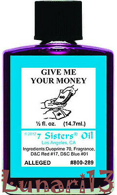 Give Me Your Money, Oil, 7 Sisters, 1/2oz, Lunari13, Wicca, Santeria, Brujeria
