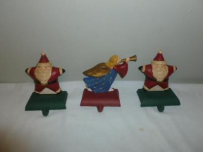 Group of 3 Cast Iron Christmas Stocking Hangers 2 Santa Claus 1 Angel-BL